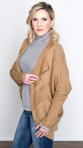 Open Front Pocket Cardigan- Camel