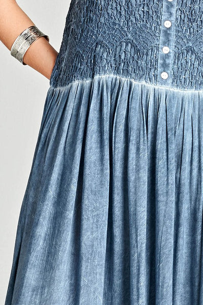 Mineral Washed Maxi Dress in Blue