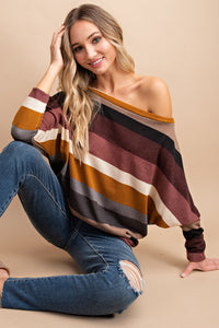 Happy Day Striped Dolman Top in Camel