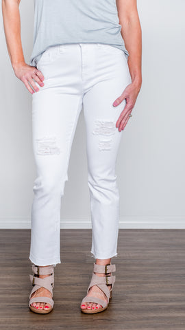 Lola Brand Distressed White Crop Jean- 4 Way Stretch!