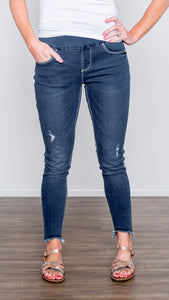 Lola Brand Mid Rise Ankle Length Pull-On Jean- Medium Wash