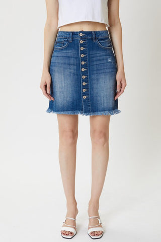 The Bella Button Up Denim Skirt
