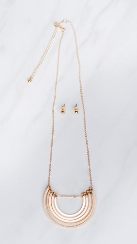 Triple Tier Necklace with Half Moon - Gold