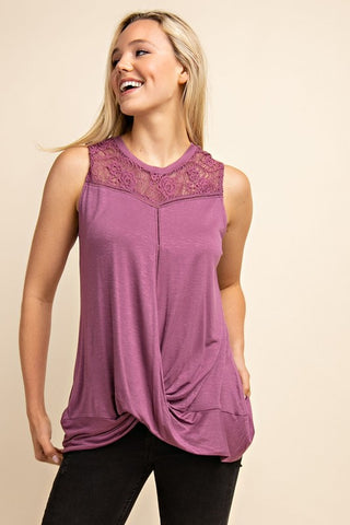 Lavender Fields Lace Knit Tank