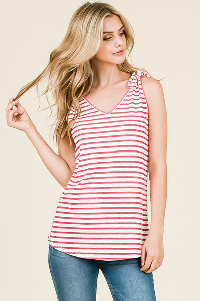 Stripes for Everyone Bow Tie Tank Top