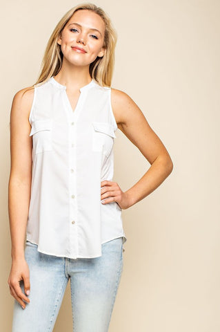 The Addy Button Up Sleeveless Top- 3 Colors!!