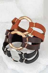 Leather and Hammered Ring Bracelet