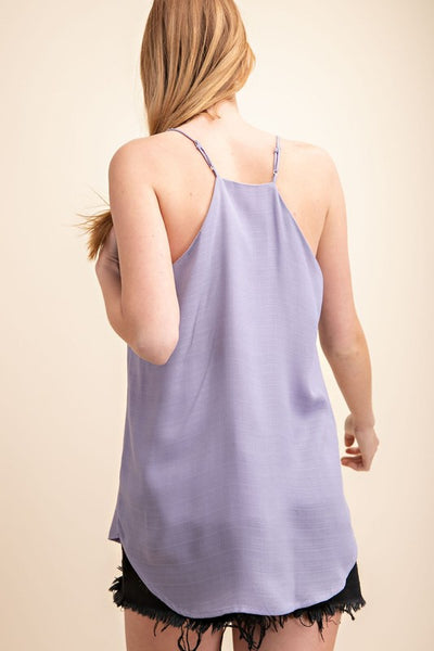Relaxed Fit Button Front Cami in Lilac Haze