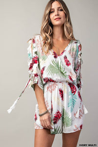 The Beach is Calling Palm Print Romper- Ivory