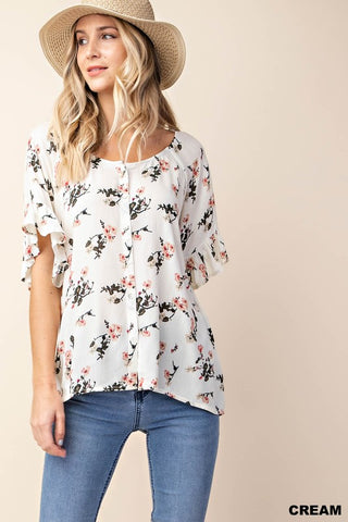Singing Her Song Flutter Sleeve Floral Top