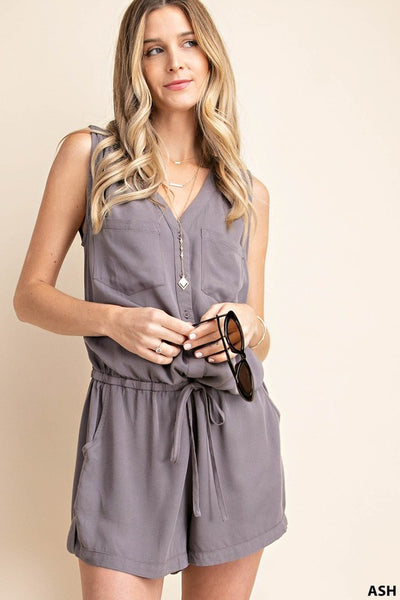 The Meryl Solid Romper in Ash Gray
