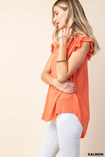 Peachy Keen Ruched Shoulder Sleeveless Top