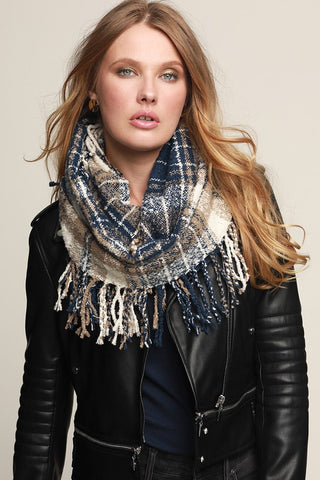 Cozy Soft Plaid Scarf - Navy/Taupe