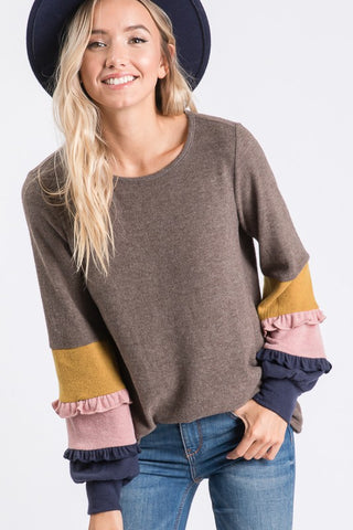 Sassy Sleeves Soft Knit Top- 2 Colors