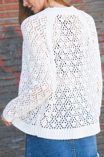 Chenille Ivory Cardigan