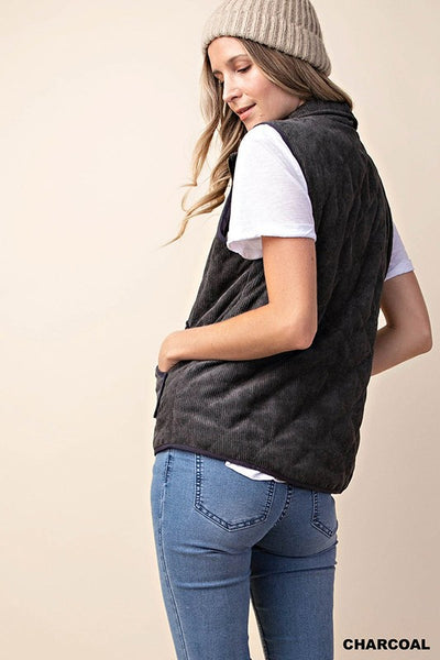 The Lindsey Charcoal Corduroy Vest