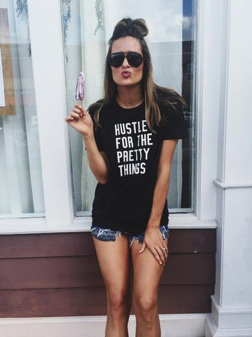 Hustle for the Pretty Things Graphic Tee- Black