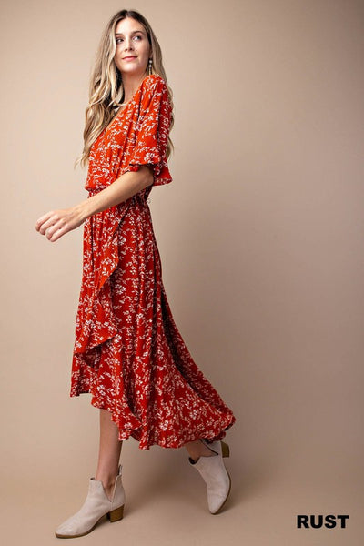 The Maggie Rust Floral Ruffle Dress