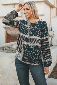 Trevi Patchwork Navy Blouse