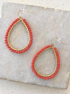 Coral Beaded Earrings