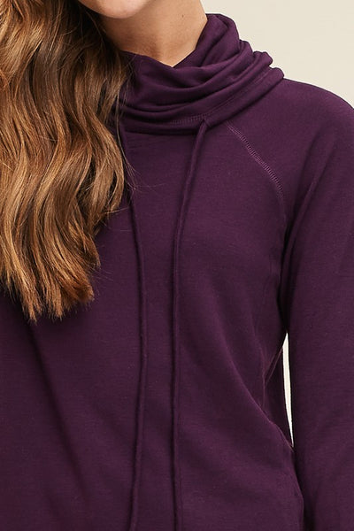 Purr Like a Kitten Cowl Neck Pullover Top- Deep Plum