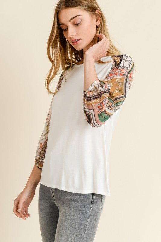 McKinley Paisley Printed Sleeve Knit Top