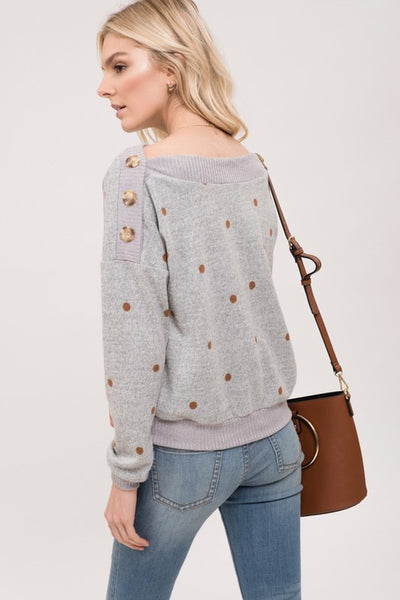 Grey Polka Dot French Terry Top