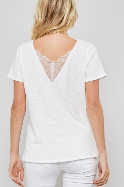 Lace-Trimmed V-Back Tee