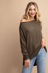 All the Snuggles Knit Top in Olive