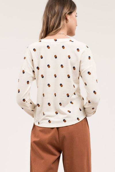 Dotty Days Button Up Knit Top