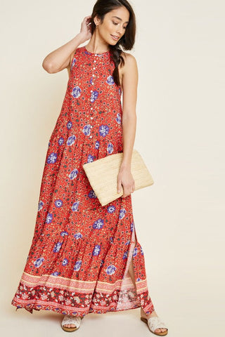 Mandolin Floral Button Down Maxi Dress