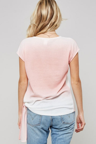 Tidal Wave Waffle Knit Tee in Mauve