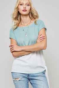 Tidal Wave Waffle Knit Tee in Sea Green