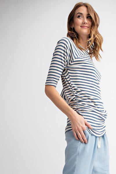 Ruche Side Tunic Top- Navy Stripe