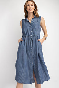 The Lona Dark Washed Denim Shirt Dress
