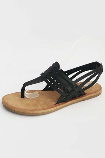 The Brenda Braided Thong Sandal in Black