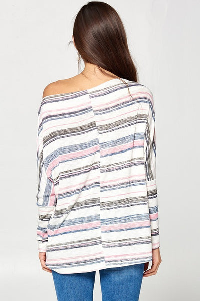 Murray Multi - Colored Stripe Knit Top Navy-Pink
