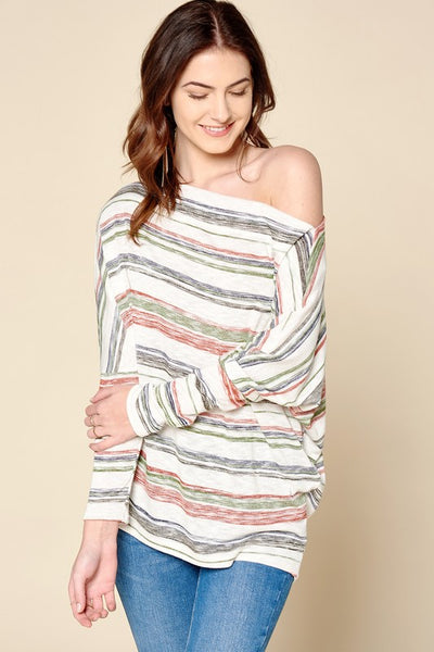 Murray Multi -Colored Stripe Top - Red - Olive