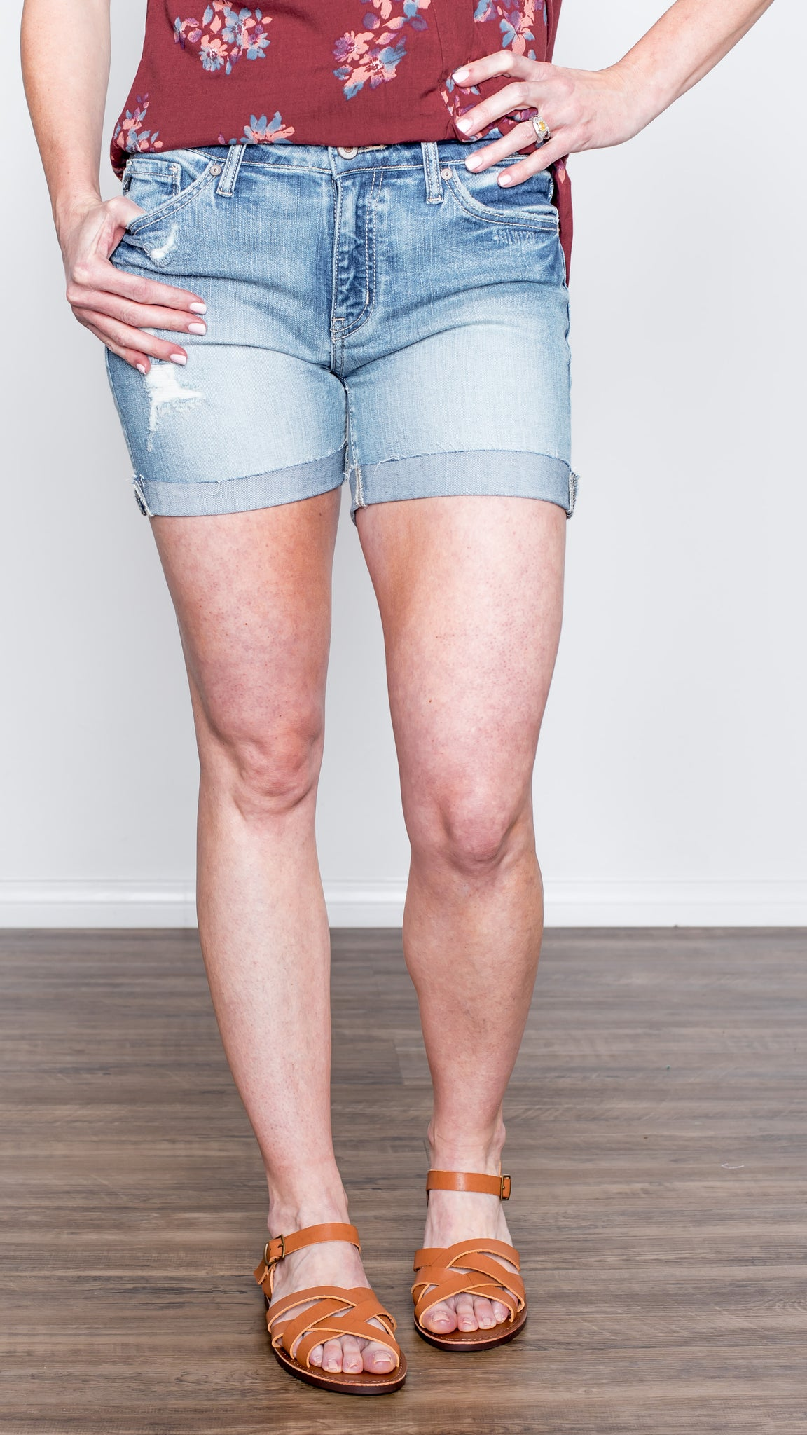 Cuffed Denim Shorts in Light Wash