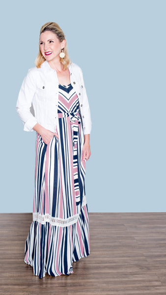 Parsol Strolls Striped Maxi Dress