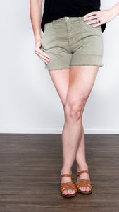 Cargo Frayed Hem Shorts- Light Olive