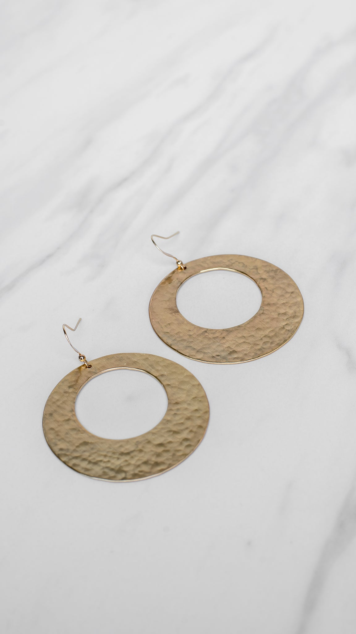Hammered Circle Gold Earrings