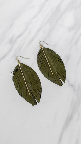 Olive Feathered Leather Earrings