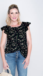 Cap Sleeve Floral Blouse in Black