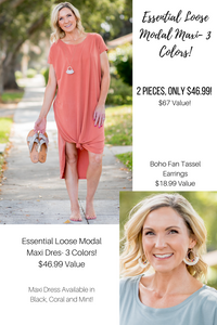 April Lush Essential Loose Fit Maxi Dress-3 Colors!