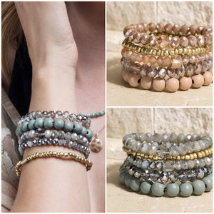 Make Me Shine Four Layer Stretch Bracelet Set- 2 Colors!