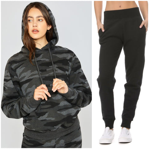 RESTOCKED!! The Megan Camo Sweat Set- Charcoal