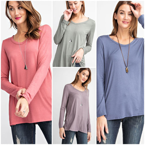 Sweet Layers V-Neck Long Sleeve Top-4 Colors!