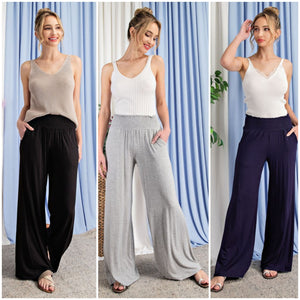 PRE-ORDER!! The Silvia Smocked Straight Leg Pants- 3 Colors!