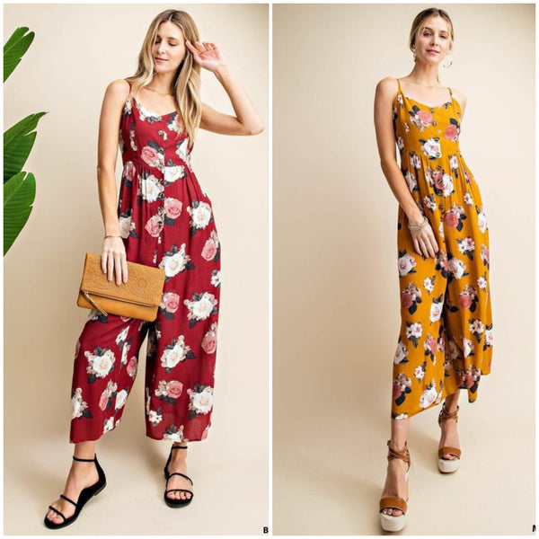 The Mary May Rose Print Jumpsuit- 2 Colors!
